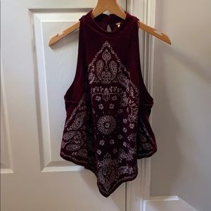 Patterned velvet halter neck blouse
